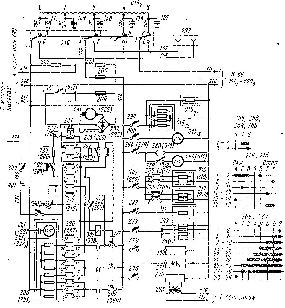 Рис. 70.  Схема цепей вспомогательных машин электровоза ЧС4Т, питающихся переменным током (мотор-насосы не показаны) .