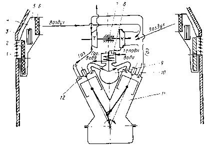 Принципиальная схема системы воздухоснабжения дизеля 2А-5Д49 (тепловоз.